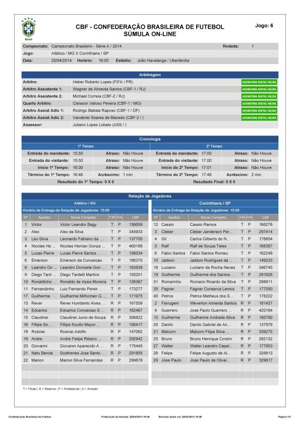 Campeonato Brasileiro 2014 - 1° rodada - Atlético (MG) 0x0 Corinthians - Sumula_Página_1