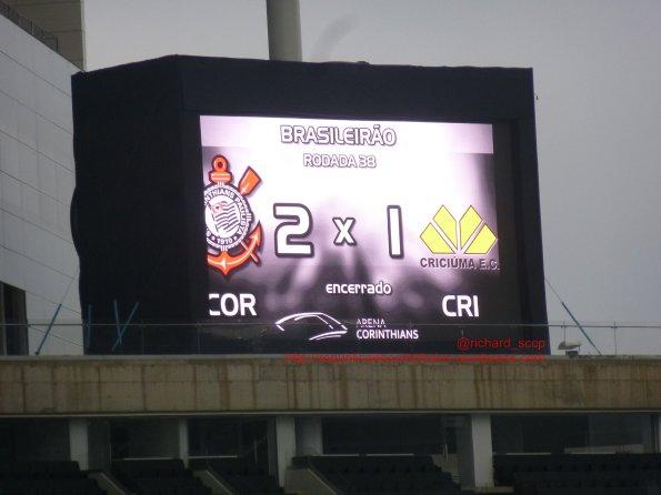 Campeonato Brasileiro 2014 – 38° rodada – Corinthians 2x1Criciúma (SC)